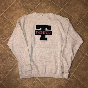 Sweaters - Vintage 80s 90s Big T logo fabric Crewneck